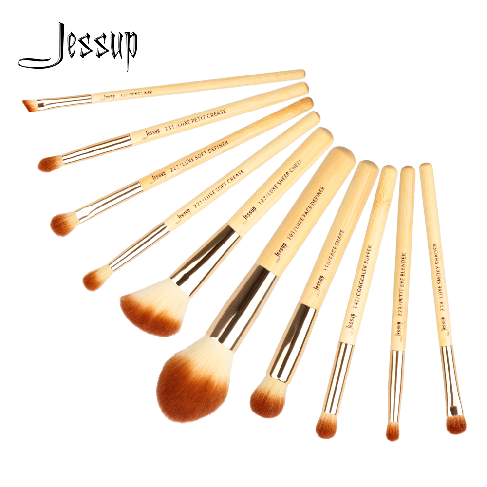 Jessup 10pcs makeup brushes Beauty Bamboo Professional maquiagem profissional completa Foundation Powder Eyeshadow Brushes T143 fashion 10pcs professional makeup powder foundation blush eyeshadow brushes sponge puff 15 color cosmetic concealer palette