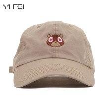 YIFEI Kanye West Oso Enarboló El Casquillo Gorra de Béisbol Mujer Oso bordado  Sombrero de Papá 5a00e5ceb92