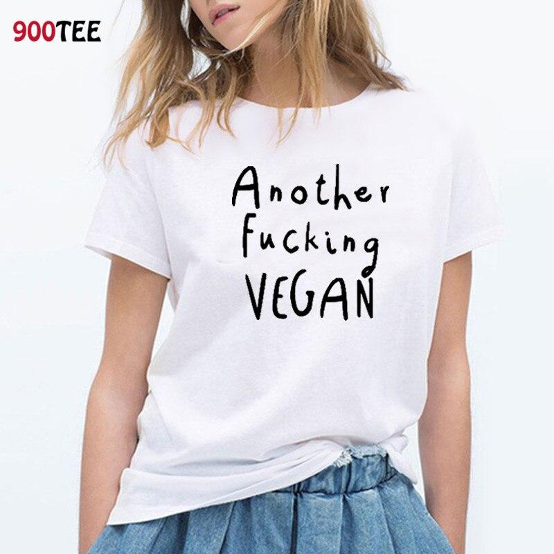 Fashion White T-shirt Women Letter Vegan Printed Funny Women T Shirts Cotton Short Sleeve O-neck Tee Shirt Femme Plus Size