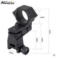 AloneFire K4 Tactical Laser Sight Flashlight Rifle Scope Mount in Aluminium 30mm Ring Adjustable Elevation Windage for 20mm Rail