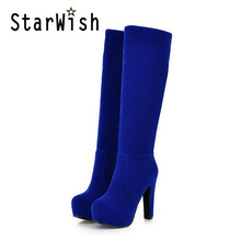 High Heel Boots Female Platform Knee-High-Boots Women Zip Square Heels Round Toe Black Red Blue Brown Shoes Woman Big Size 32-45