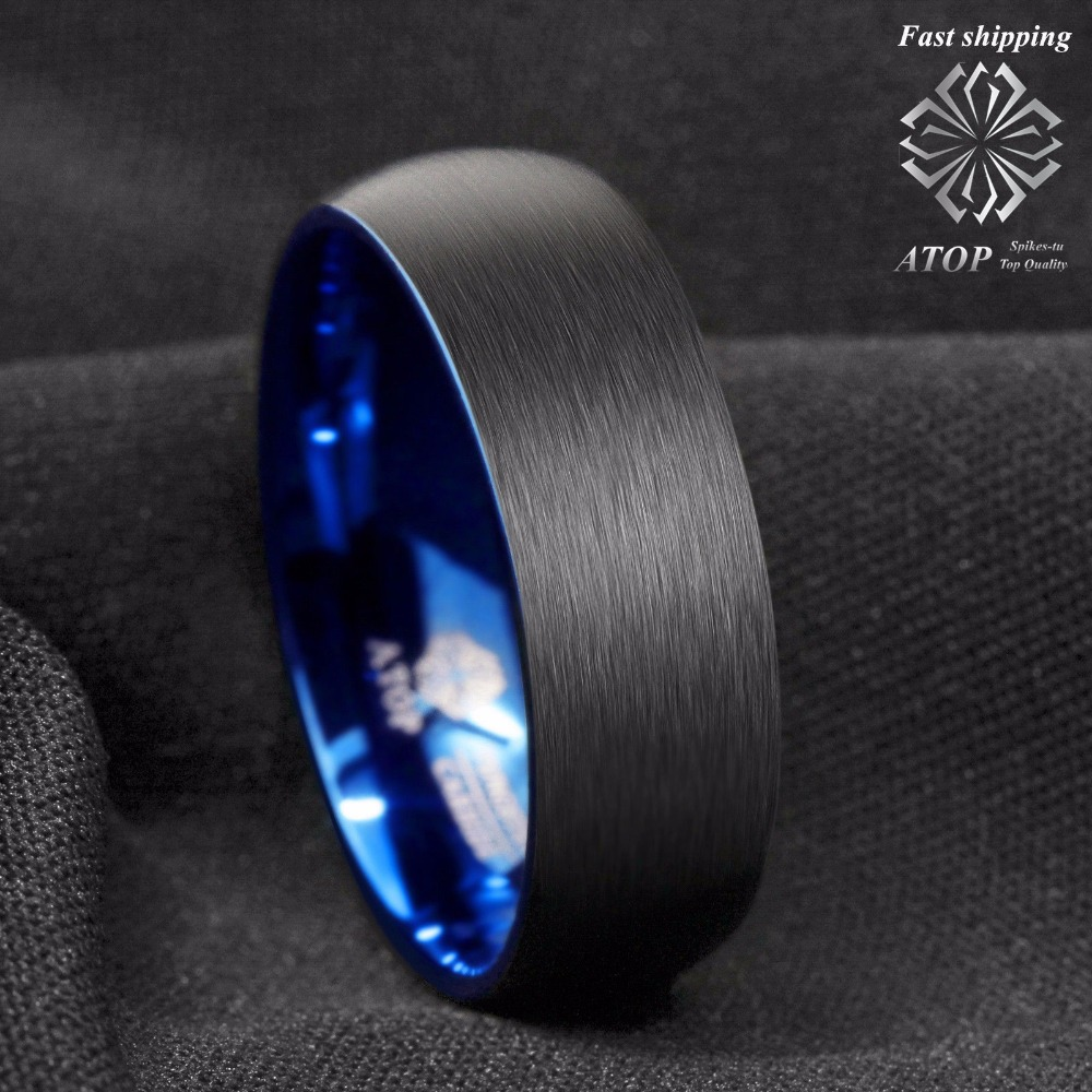 8mm Men/'s Tungsten Ring Blue Domed with Beveled Silver Edges Band ATOP Jewelry