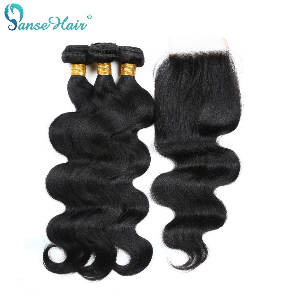 Panse Hair Mongolian Body Wave Human Hair 3 Bundles With Lace Closure 4X4 Non Remy Hair 8 To 28 Inches Mixed Length