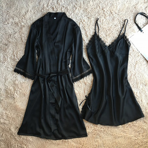 Image 3 - Fiklyc marca das mulheres novo design satin & lace patchwork floral primavera robe & vestido define sono & lounge feminino duas peças de roupa de dormir