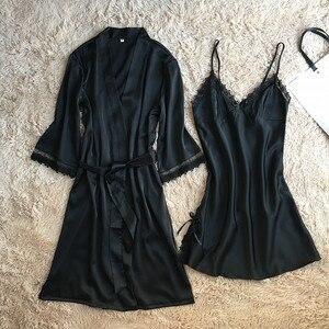 Image 3 - Fiklyc marke frauen neue design satin & spitze floral patchwork frühling robe & kleid sets sleep & lounge weibliche zwei stücke nachtwäsche