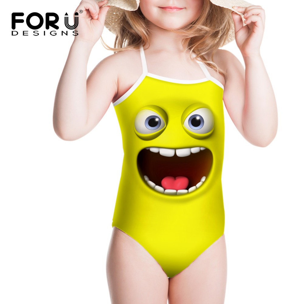 Funny Yelllow Smile Face Swimsuits Cover Ups Girls Bodysuit One Piece Swimsuit Kawaii Smile Funny Smile Faces Yellow Green Cool cute smile faces high visibility