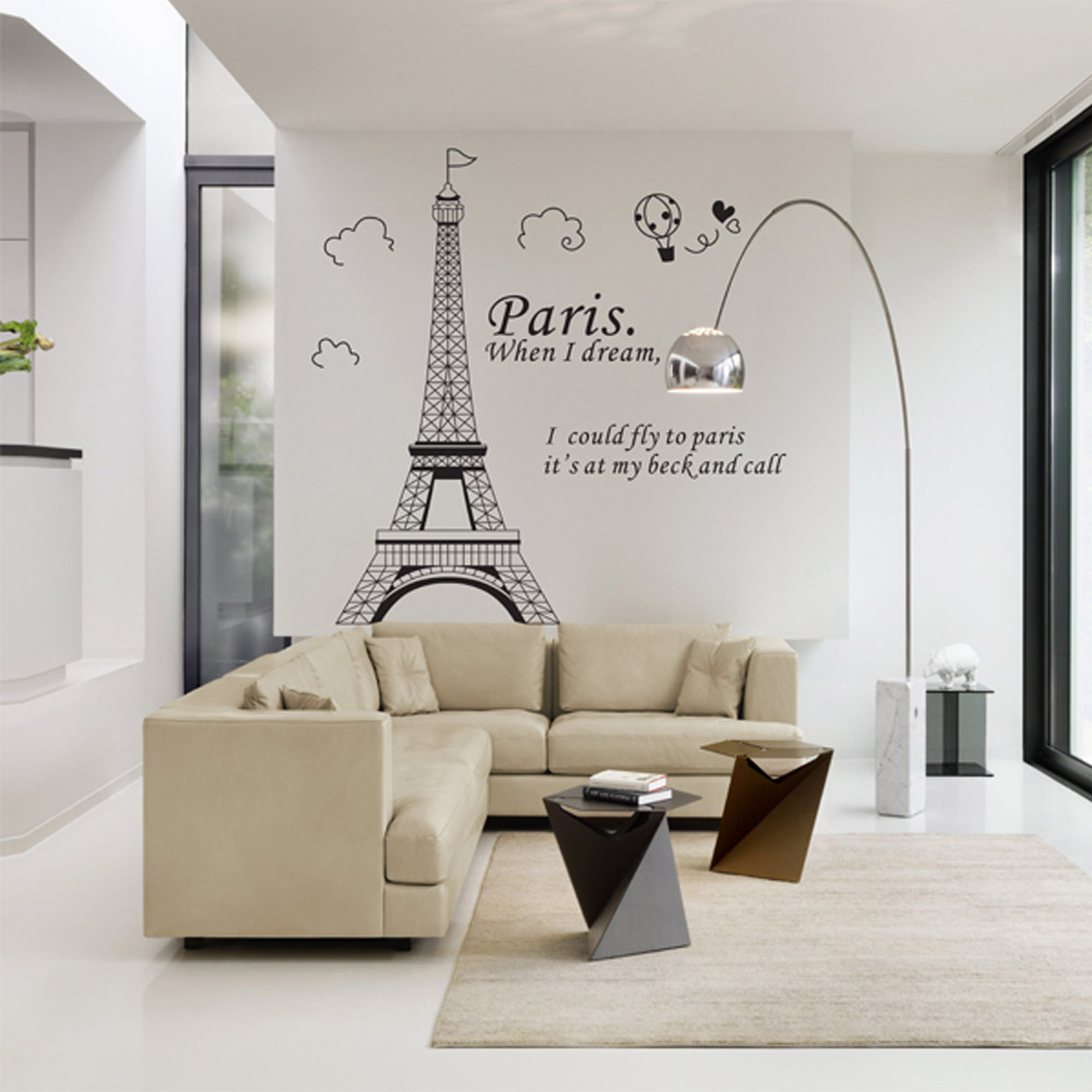 Envío gratis romántico París Torre Eiffel hermosa vista de Francia DIY pegatinas de pared Wallpaper Art Decor Mural Room Decal