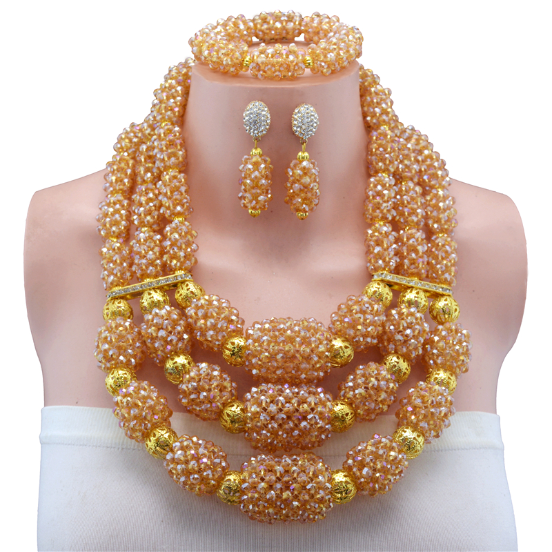 Bridal Gift Nigerian Wedding African Beads Jewelry Set Fashion Dubai gold-color Jewelry Sets Free Shipping Wholesale customerBridal Gift Nigerian Wedding African Beads Jewelry Set Fashion Dubai gold-color Jewelry Sets Free Shipping Wholesale customer