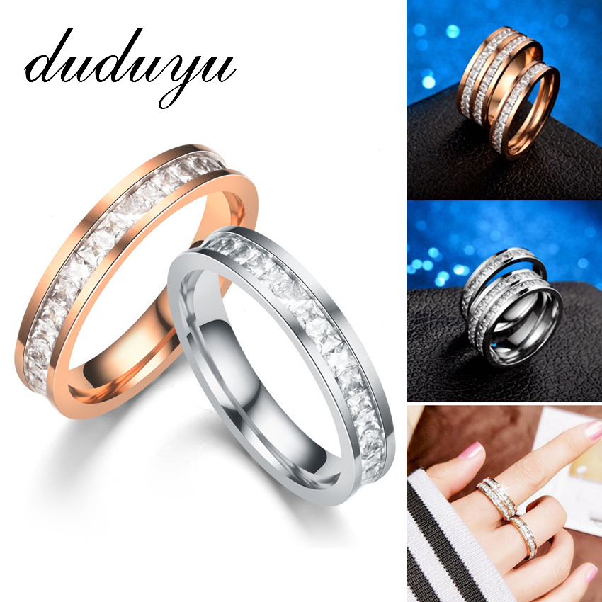 2019 New Rose Gold Silver Wedding Bands Ring For Women Men Jewelry