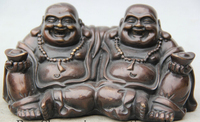 6 Chinese Bronze Seat Two Happy Laugh Maitreya Buddha Wealth Statue Sculpture S0705 B0328