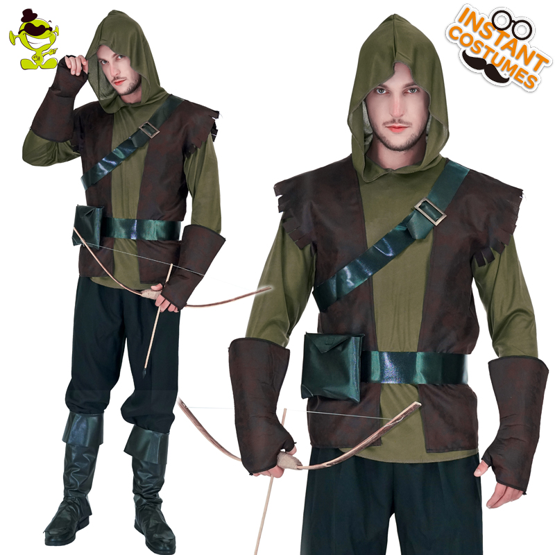 91a9040b24f New high quality Robin Hood costume Brave Green arrow man role play party  Fancy clothing For Halloween party Masquerade Dress