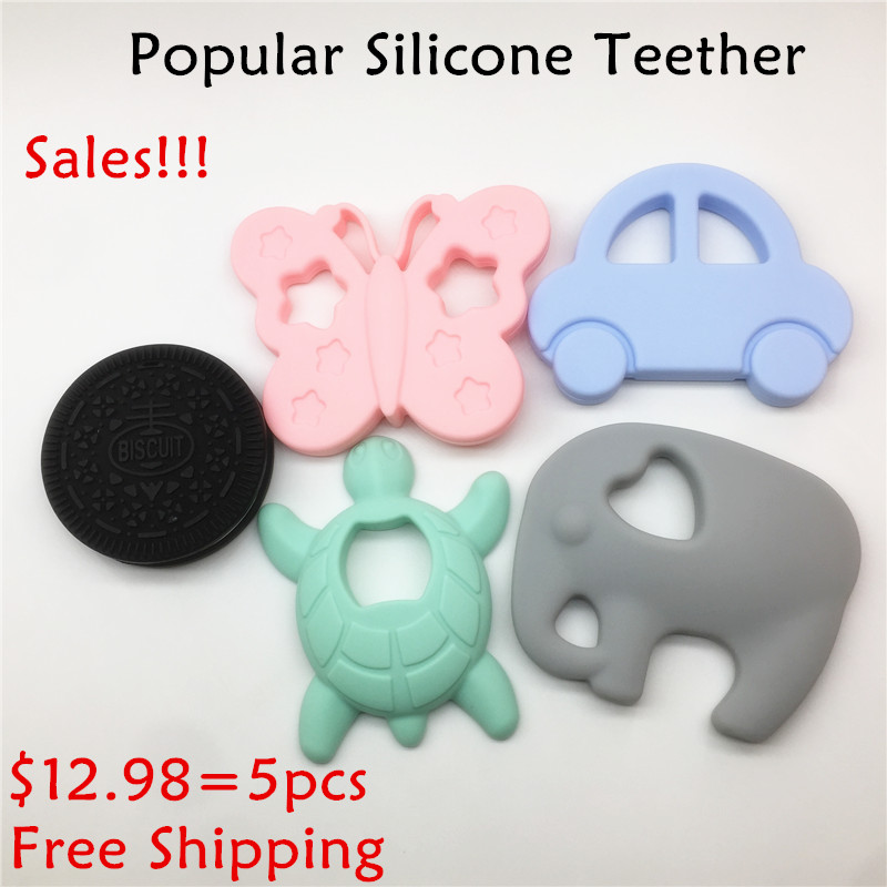 Chenkai 5PCS BPA Free Silicone Infant Car Elephant Butterfly Biscuit Turtle Teether DIY Baby Pacifier Nursing Grib Sensory Toy