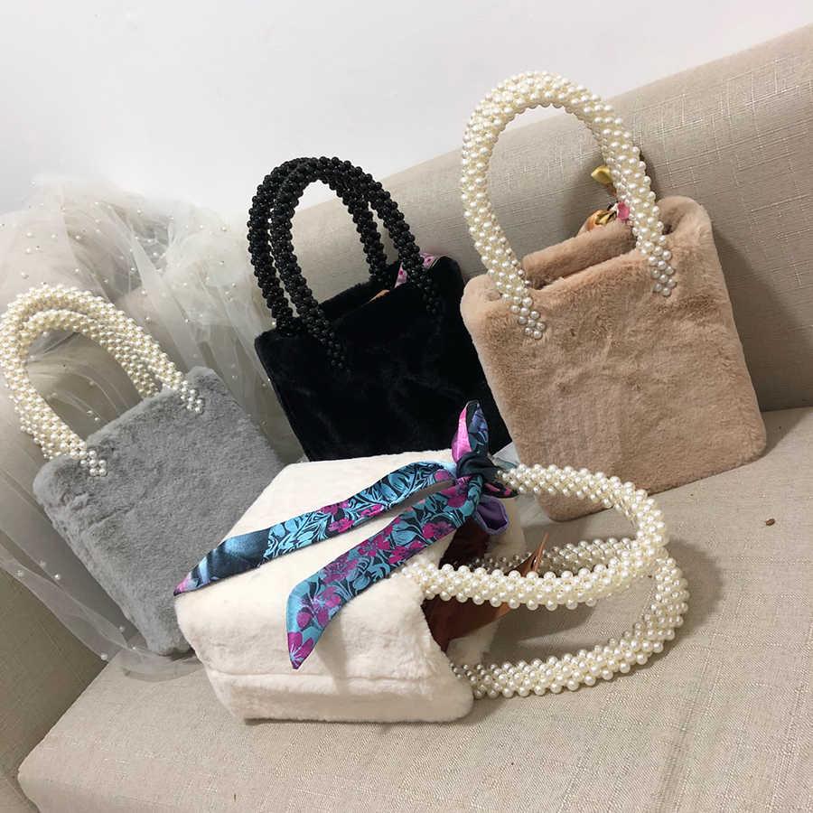 fb94debad796 Ins Beading Box Winter Pearls Bags for Women Handbags Faux Fur Totes Bags  Top-handle