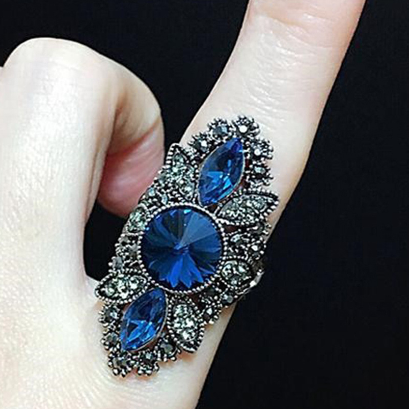 Best Selling Thai Silver Color Jewelry Retro Red Blue Big Stone Rings for Women Exquisite Wedding Engagement Rings party Anillos