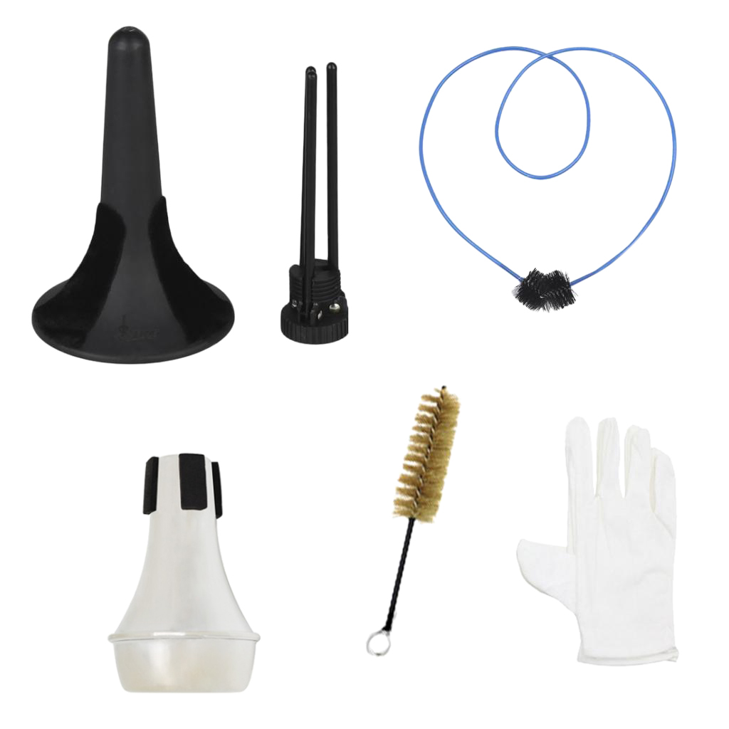 6 In 1 Trumpet Maintenance Cleaning Tool Kit Trumpet Stand 2pcs Brushes +Mute+Gloves Set