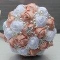 Impresionante 5 Unid/lote Personalizado de la Boda/Dama de Honor Ramos de Flores Artificiales Ramos de Novia de La Boda con Perlas de Diamantes W224