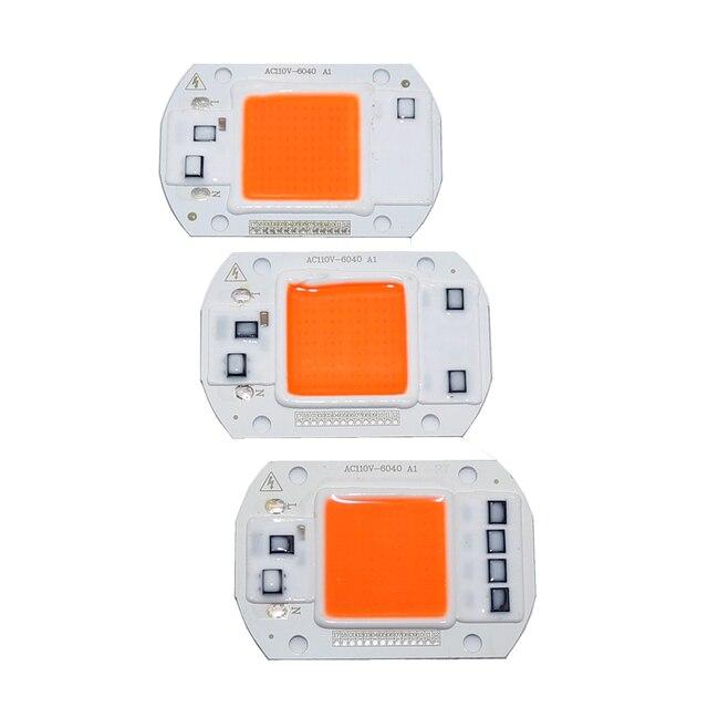 100 Chiếc AC110V 220V COB Chip LED Phyto Đèn Suốt 20W 30W 50W Diode phát Triển Đèn Fitolampy Cho Cây Con Trong Nhà