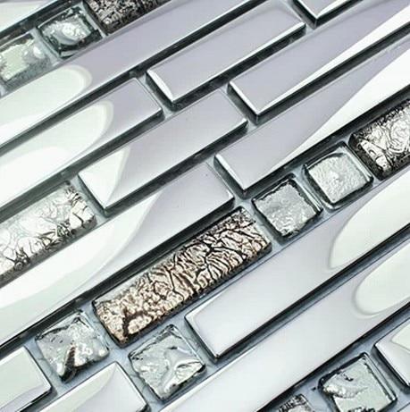 Strip Stainless Steel Mixed Electroplating Glass Mosaic Tiles For Kitchen  Backsplash Tile Bathroom Shower Tile Bedroom Border