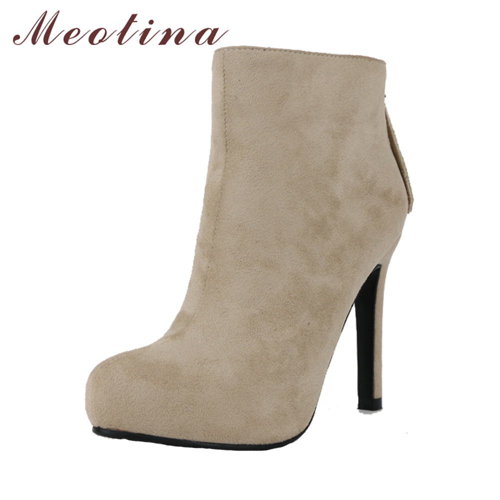 Meotina Women Boots Platform High Heel Boots Pointed Toe Ankle Boots Zip Winter Shoes Big Size 43 Chaussures Femme Black Red famiao women boots sexy high heel zapatos mujer tacon 2017 gary black buckle ankle boots for women shoes pointed toe winter