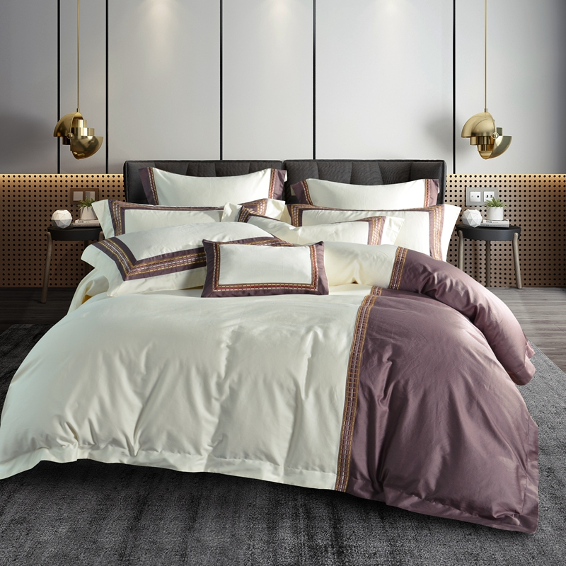 Egyptian cotton White&Purple Bedding Sets Queen King Size Home Textiles Include Duvet Cover+Bed Sheet+PillowcasesEgyptian cotton White&Purple Bedding Sets Queen King Size Home Textiles Include Duvet Cover+Bed Sheet+Pillowcases