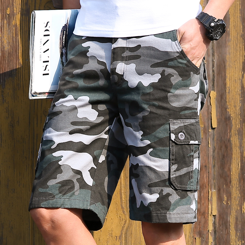 Summer Army Camouflage Shorts Mens Fashion Cargo Male workoutshort Cotton Baggy Tactical knee length Shorts plus size 40 42 44