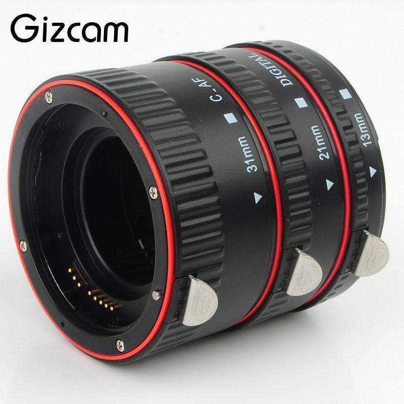 Gizcam Metallo Mount Messa A Fuoco Automatica Macro Extension Tube Anello Camera Lens adattatore per Canon EOS 550D 5D3 1100D 1000D 650D 600D DSLR