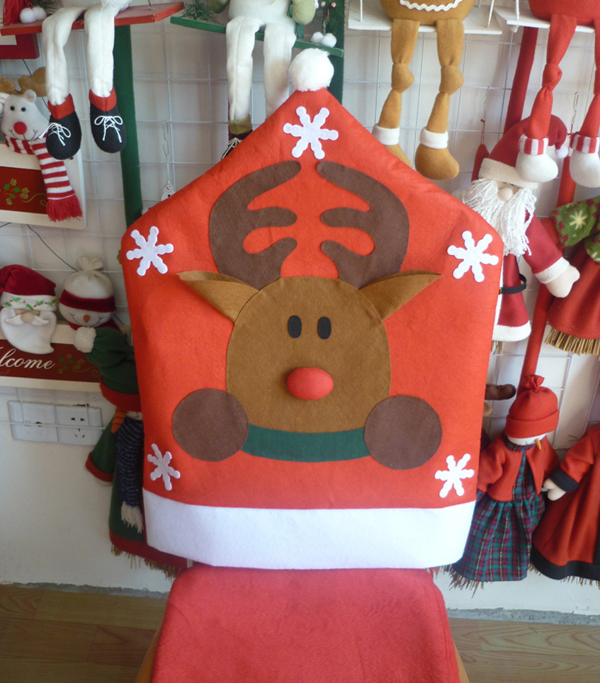 christmas elf chair covers table and rentals nyc 1 pcs cute hat cover no woven santa claus reindeer pattern dinner
