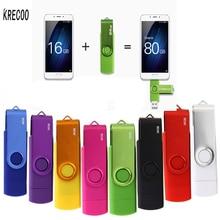 KRECOO USB 2 0 OTG Usb Flash Drive 64GB 16GB Pen Drive Plastic Usb Interface FlashDrives