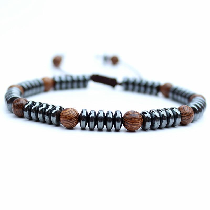 Fashion Handmade Men Bracelet Disc Shape Hematite Stone wood Shamballa Bracelet Friendship Bracelets Mens Beads Bracelet Jewelry