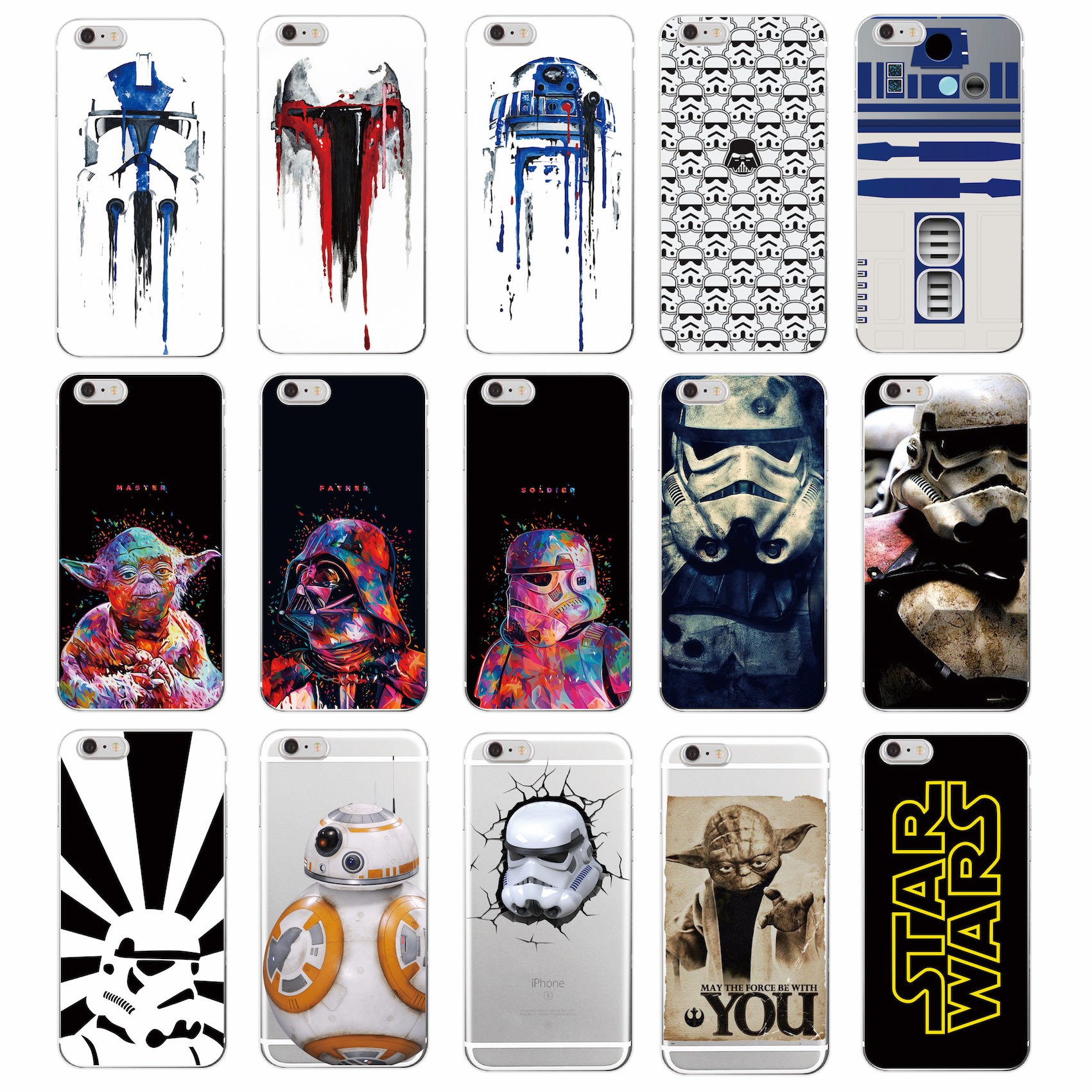 Star Wars Character Movie Storm Trooper Darth Vader Yoda R2-D2 BB-8 Soft Phone Case For iPhone 7Plus 7 6Plus 6 S 5 S 4S SE 5C