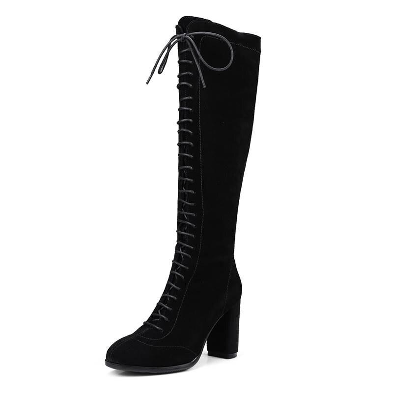 Rond Genou Talon Chaude 2018 Suédé marron Bottes Carré Bout Automne Chaussures Haute Zip Noir Cuir Mode Casual Smirnova Femmes Vache En Super 5xfqO0aaw