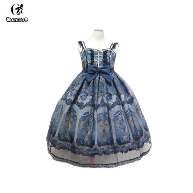 ROLECOS Новый Японский Sweet Стиль Принцессы Лолита Платья Синий Викторианской Gothic Lolita Dress ао