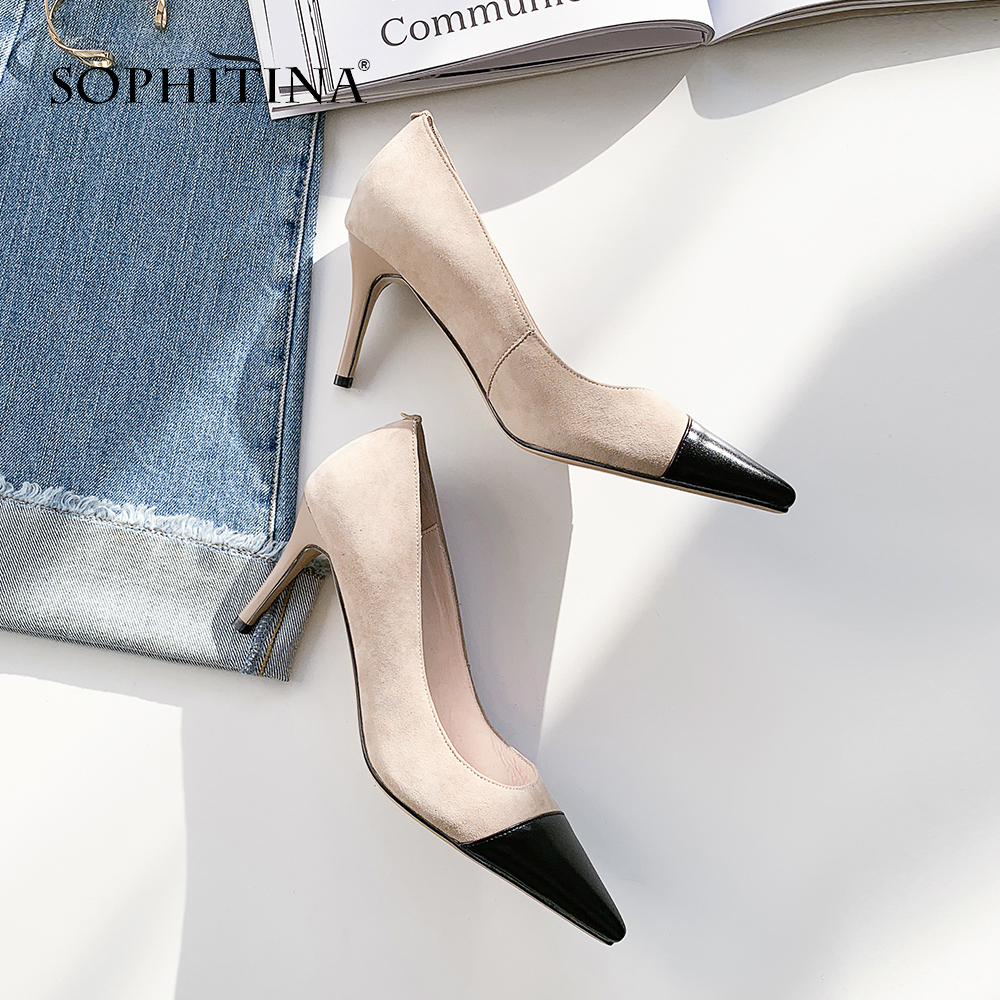 SOPHITINA Fashion Shallow Women' s Pumps High Quality Cow Leather Pointed Toe Office Large Size Shoes Sexy Sheepskin Pumps MO16