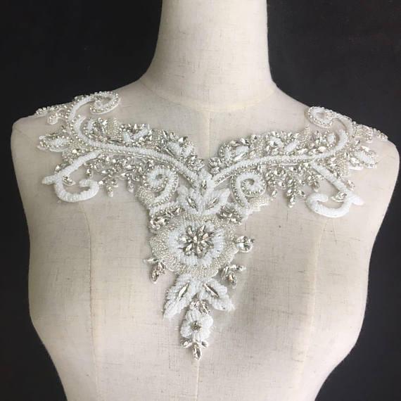 Crystal Bodice Wedding Gown: Rhinestone Bodice Applique, Crystal Applique, Crystal