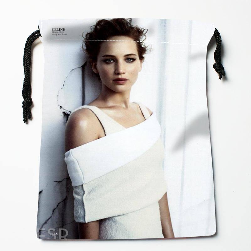 High Quality Custom Jennifer Lawrence Printing Storage Bag Drawstring Bag Gift Satin Bags 27x35cm Compression Type Bags