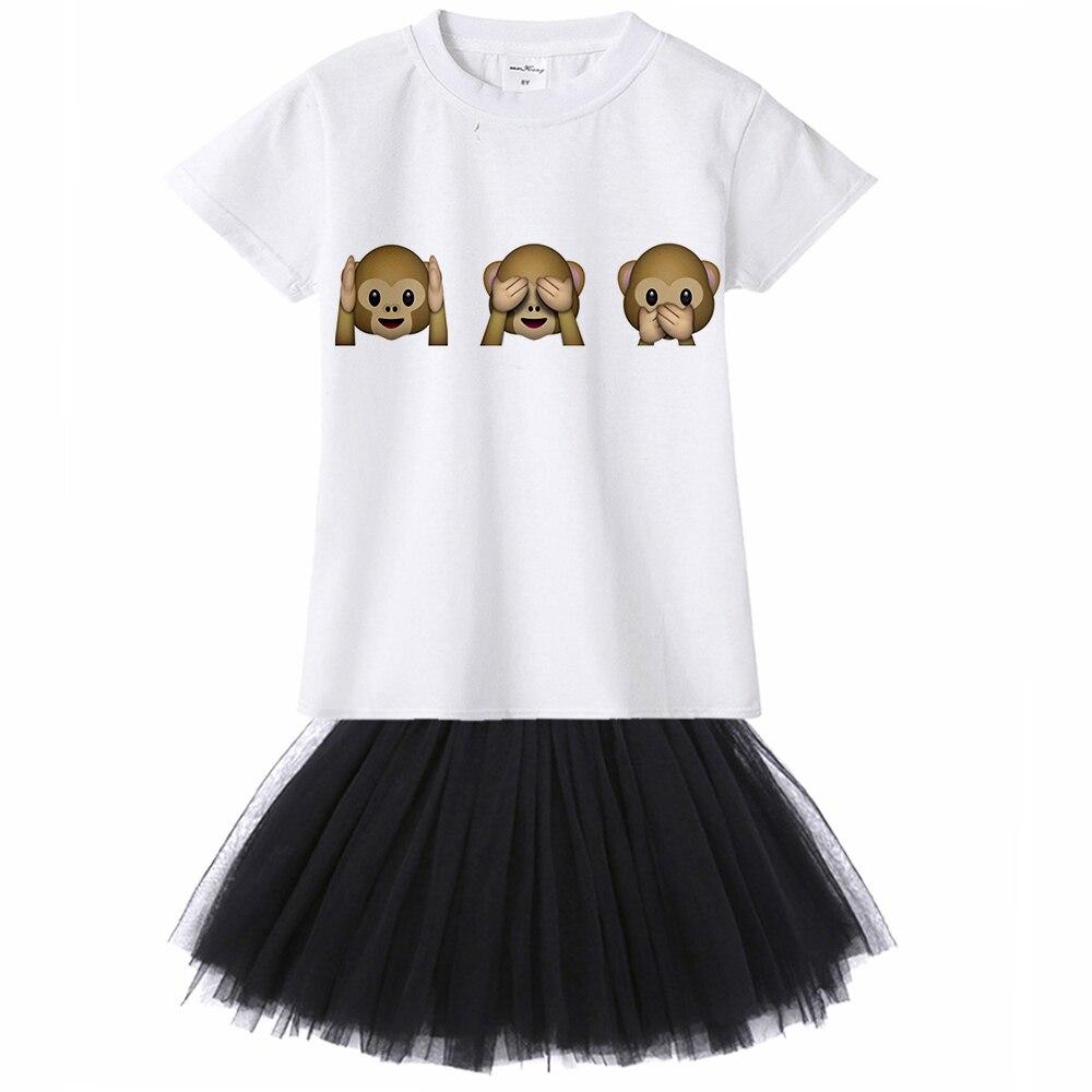 US $7 39 26% OFF|New Emoji Monkey Print kids girl casual dress summer Short  Sleeved Cute princess dress casual tee + veil net tutu dress 2pcs-in