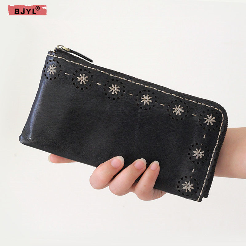 BJYL Women Long wallet ladies genuine leather handbags large capacity female bag multi-functional zipper hand Vintage walletBJYL Women Long wallet ladies genuine leather handbags large capacity female bag multi-functional zipper hand Vintage wallet