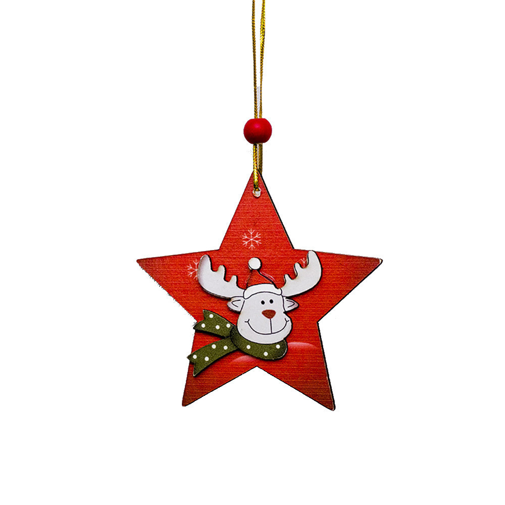 Diamond 2018 Fashion 6 Pcs Santa Tree Wood Sleigh Pendant Gift Home Door Hanging Decoration New Arrival Christmas New Year