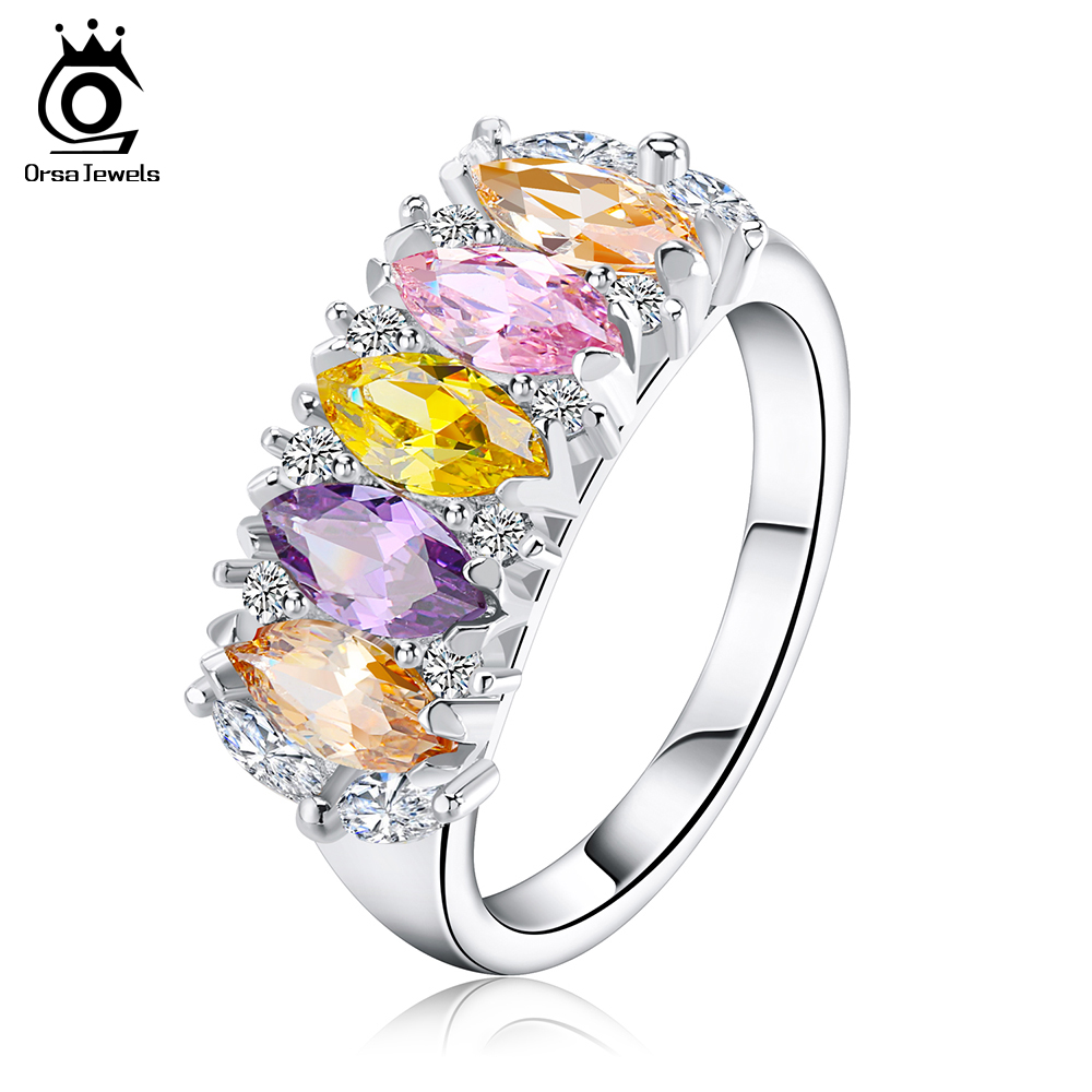 ORSA JEWELS Silver Women Ring with 8 mm Multi Color AAA Austrian Cubic Zirconia 2018 New Fashion CZ Rings for Engagement OR132 цены онлайн