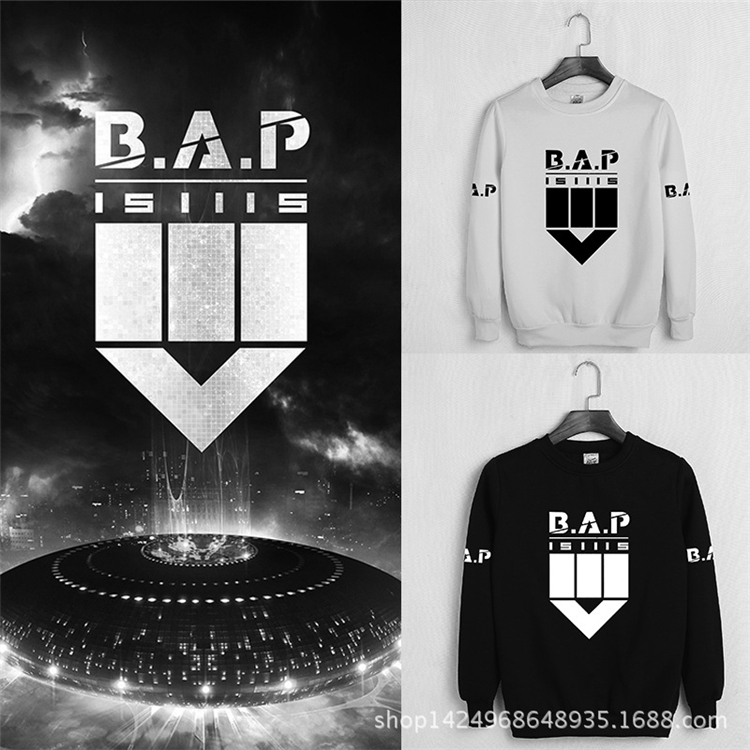 Kpop official BAP Bap sweatshirt dot matrix autumn and winter plus velvet o-neck hooded coat male and female students Outerwears