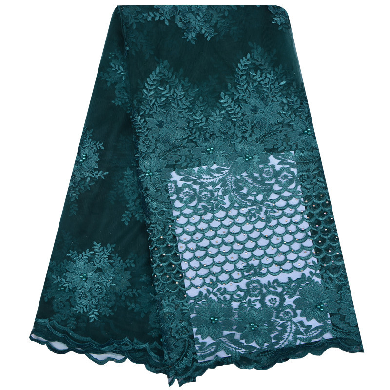 High Quality Teal African Beaded Lace Fabric Flower French Tulle Lace Fabric 2018 Nigeria For Bridal