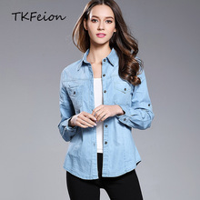 ФОТО womens cowboy shirts cotton blue color 2018 new fashion ladies casual denim tops lapel collar long sleeve female slim blouses xl