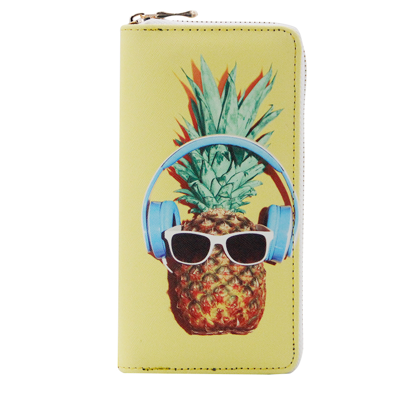 Fashion Sunglasses Pineapple Print Cartoon Women Purse Long Clutch Credit Card Holder Phone Case Zipper Design Ladies Wallet