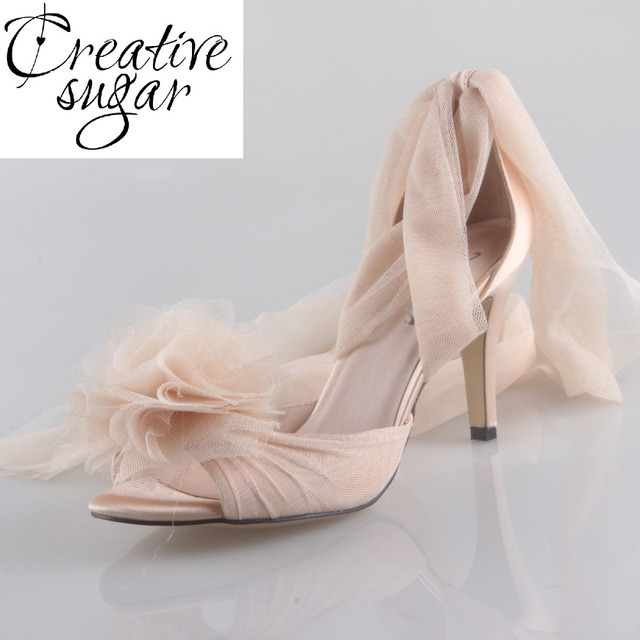 Creativesugar Handmade Champagne nude skin color long tulle bridal shoes  soft gauze leg strap fairy tale wedding party lady pump f927c30dc07c