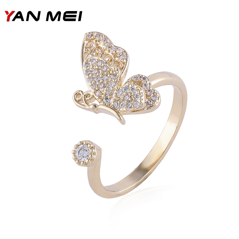 YANMEI Two Layers Crystal Butterfly For Women Open Finger CZ Fly Animal Rings Boucle Doreille Fashion Jewelry YMJ1830