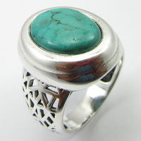 Silver Turquoises Ring Size 6.75 Ladies Jewelry Unique Designed