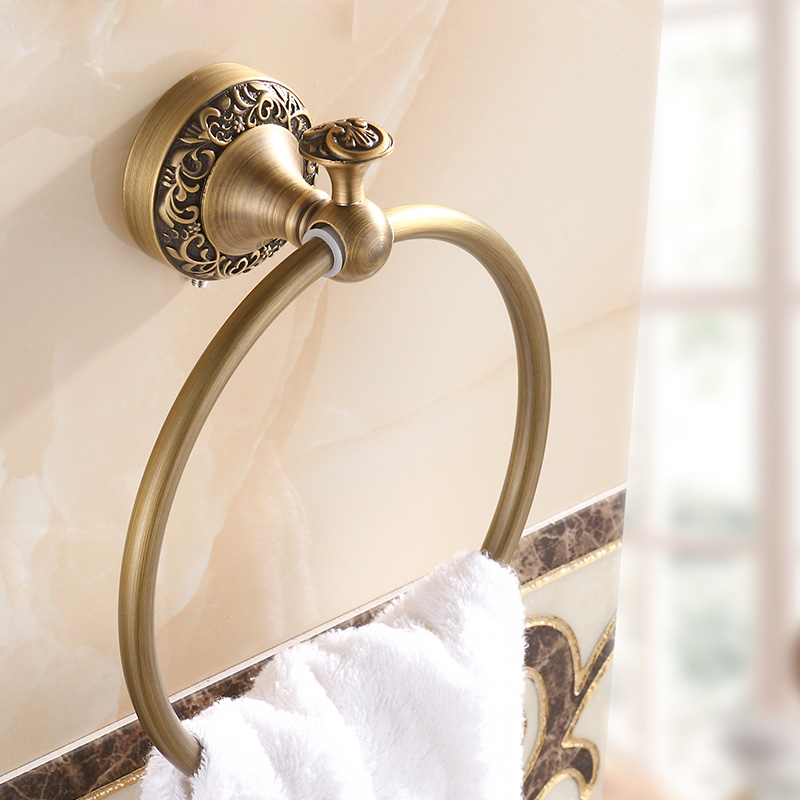 Euro style Wall Mount Antique Towel Ring Bathroom Accessories Bath Towel Hanger Free Shipping fixmee 50pcs white plastic invisible wall mount photo picture frame nail hook hanger