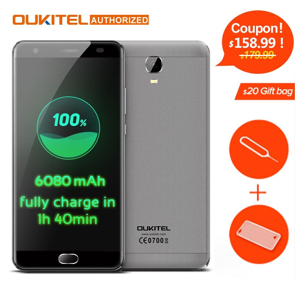 K6000 Mais Android7.0 OUKITEL Mobile Phone 5.5 ''MTK6750T Octa Núcleo 4 GB RAM 64 GB ROM 8MP + 16MP 6080 mAh Dedo IDENTIFICAÇÃO 12 V/2A Celular