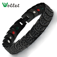 Wollet Jewelry for Men Fashion Bio Magnet Health Energy Pure Titanium Germanium Powder Magnetic Therapy Bracelet