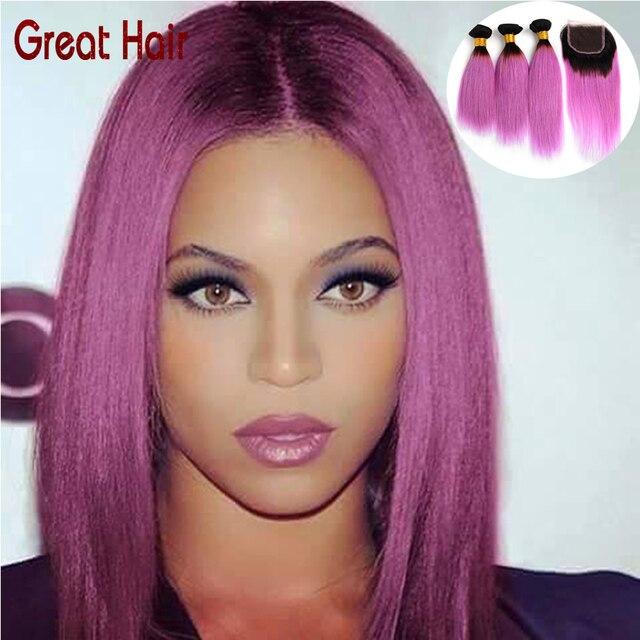 Brizilian Virgin Hair Straight 1b/light Purple Hair Ombre Brazilian Hair  With Closure Straight Ombre